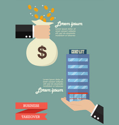 businessman takeover company business infographic vector image