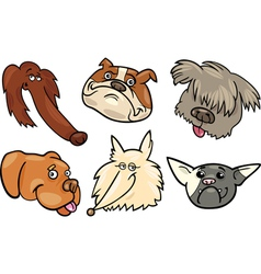 Cartoon funny dogs heads set vector image vector image