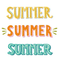 Collection of hand drawn words Summer in different vector image vector image