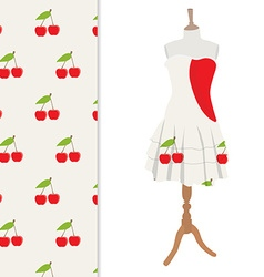 Dress and cherry pattern vector image