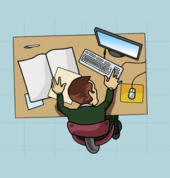 Employee working at his computer vector