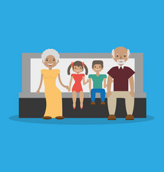 family - grandparents with grandchildren sit vector image