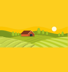 field and house banner flat style vector image vector image