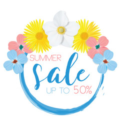 Flower banner with text summer sale on white vector