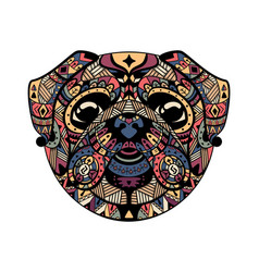 pug head zentangle stylized vector image