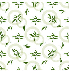 seamless pattern with green sprigs vector image