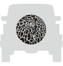 wheel cover - giraffe vector image