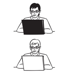 young man with glasses behind laptop vector image