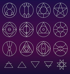 Alchemy symbols collection set line vector image vector image