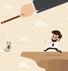 Businessman chasing money trap to the edge of clif vector image