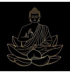 Gold buddha sitting on lotus vector