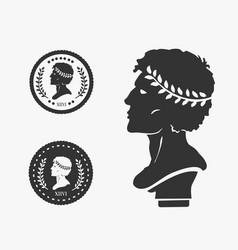 greek profile coin vector image vector image