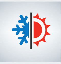 hot and cold symbol sun and snowflake vector image vector image
