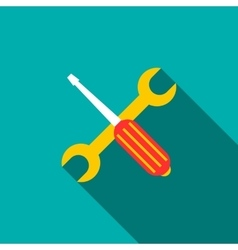 Screwdriver and wrench icon flat style vector image