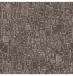 Seamless hand drawn doodle pattern with clothes vector image vector image