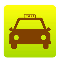 taxi sign brown icon at vector image