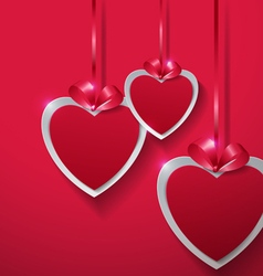 Valentines Day Paper Hearts Hanging with Ribbon on vector image