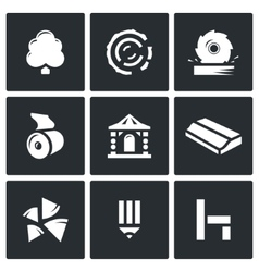 Wood products industry icons set vector image vector image