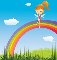 Fairy on a rainbow vector image vector image