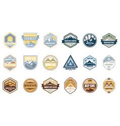 mountain camping logo set alpinist mountain vector image vector image