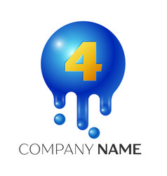number four splash logo blue dots and bubbles vector image vector image