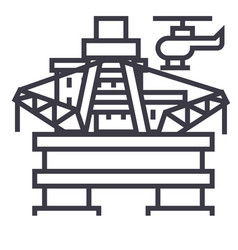 oil platform rig line icon sign vector image