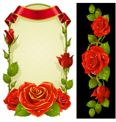 set of floral decoration red roses green leaves vector image