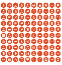 100 intelligent icons hexagon orange vector