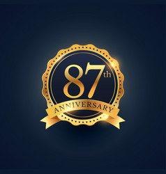 87th anniversary celebration badge label in vector