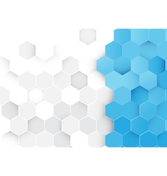 Abstract blue and white hexagons background vector