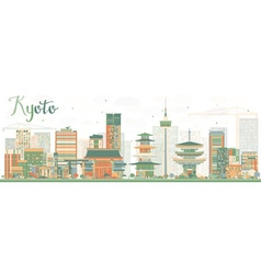 Abstract kyoto skyline with color landmarks vector