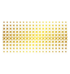 Airplane gold halftone pattern vector