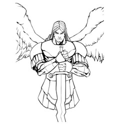 archangel michael portrait line art vector image