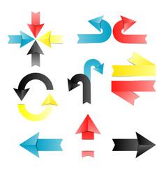 arrow arrow colorful origami ribbons vector image