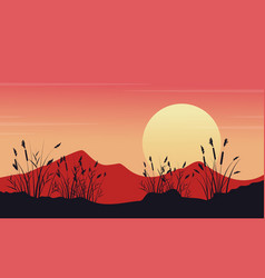 At morning mounatin landscape silhouettes vector