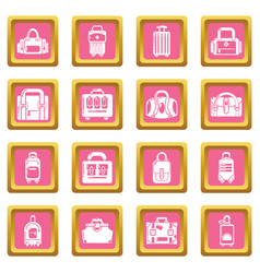 bag baggage suitcase icons set pink square vector image