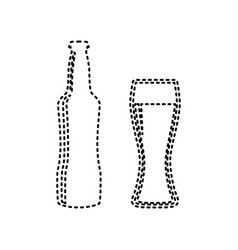 beer bottle sign black dashed icon on vector image