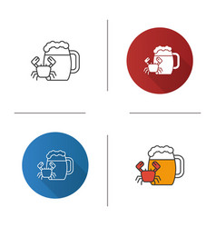Beer mug with crab icon vector
