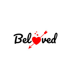 Beloved word text typography design logo icon vector