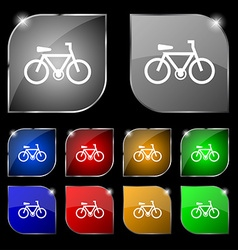 Bicycle icon sign Set of ten colorful buttons with vector