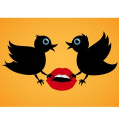 birds with lips vector image