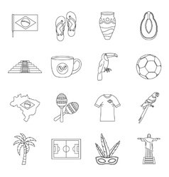 Brazil travel symbols icons set outline style vector image