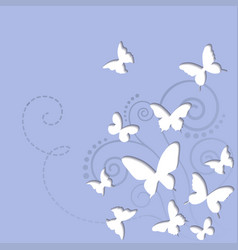 butterflies on a blue sky background vector image
