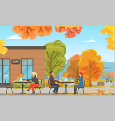 Cafe with tables and people customers vector