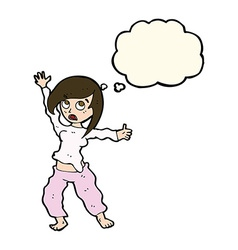 Cartoon frightened woman with thought bubble vector