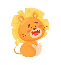 Cartoon humanized lion cub sitting vector