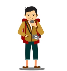 Cheerful backpacker with camera on mobile phone vector