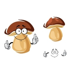 Cheerful smiling cartoon porcini mushroom vector image