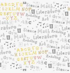 childish english school text seamless pattern vector image