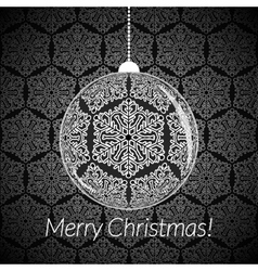 Christmas card with New Year ball with snowflakes vector image vector image